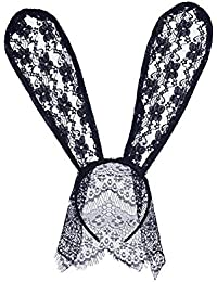 YXYP Diadema de Orejas de conejo Mujer Velo de Encaje diadema pelo Sexy  Banda de pelo Máscara de Disfraces Diadema para Fiesta de… 57d7d1bff60c