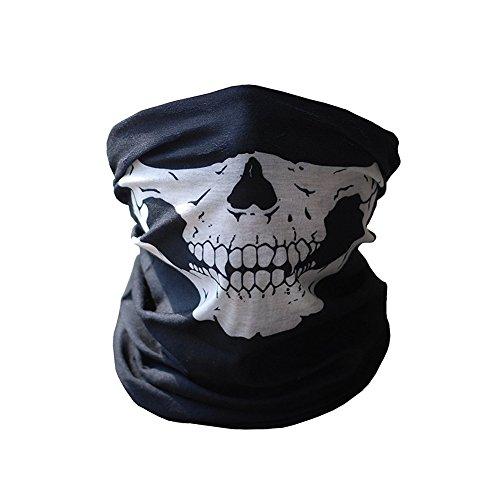 Fb sport tubolare skull face mask-protezione polvere bandana elasticizzata scheletro passamontagna per moto snowboard sci ciclismo ,1pz, uomo, full