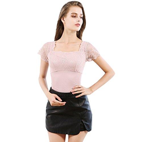 CHENGYANG Donna Contenitivo Maniche Corte Magliette Pizzo Maglie Termica Intimo Basic Top Pink