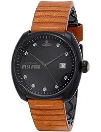 Vivienne Westwood Bermondsey Men's Quartz Watch with Black Dial Analogue Display and Brown Leather Strap VV080BKTN