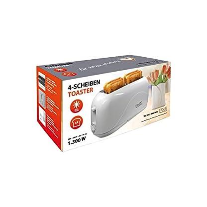 Eaxus-4-Scheiben-Toaster-1300-Watt-mit-Cool-Touch-Gehuse-Langschlitz-ToasterAutomatik-Toaster-mit-7-Brunungsstufen-und-Krmelschublade-Perfekt-fr-Familien-Wei