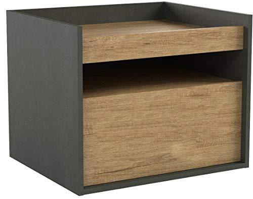 DEVAISE Hölzernen Nachttisch mit 1 Schublade; Eiche