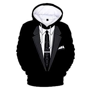 SUCES Herren Sweatshirt, Männer Weihnachten Pullover Anzug Muster 3D Print Langarm Hoodie Unisex Kapuzen Druck Paar Streetwear Winter Casual Kapuzenpullis