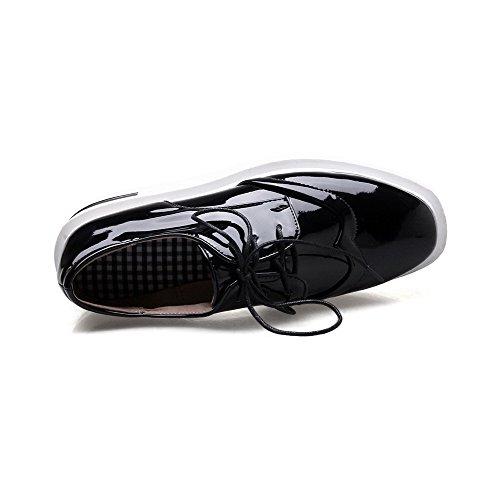 Voguezone009 Femme Lace Up Bas Talon Cochon En Cuir Pur Round Toe Ballerines-noir