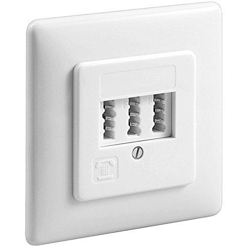 Manax Telefondose Tae Unterputzdose Nff - weiß für Zwei Telefone und Eine Nebenstelle, 1 Stück, 43545