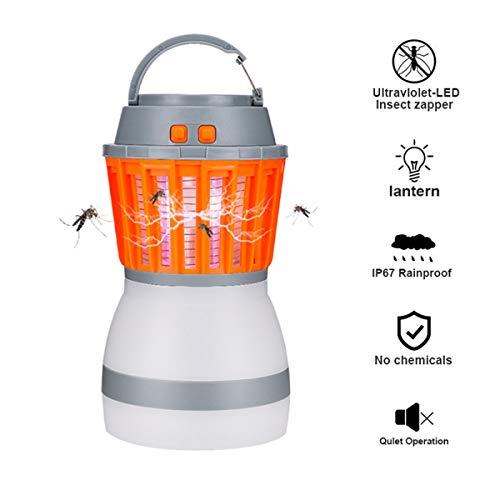 IrishTech Elektrische Insektenvernichter, 2-in-1, Mückenvernichter,Fliegenfalle, Camping-Laterne IPX6, wasserdicht, mit wiederaufladbarem Akku und einziehbarem Haken ... (Gelb)