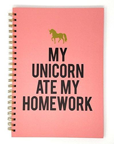 Mein Einhorn ATE Mein Hausaufgaben A4 pink schwarz gold Notizbuch 30cm x 22cm x 1cm