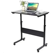 Zerone Mesa de Ordenador con Ruedas, Mesa Ajustable para Laptop y Escritorio de Estudio para