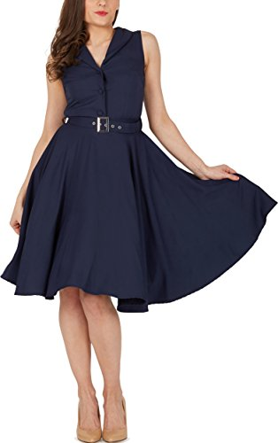 Black Butterfly 'Luna' Retro Clarity Kleid im 50er-Jahre-Stil (Nachtblau, EUR 44 – XL) - 4