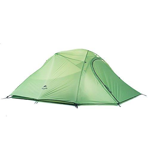 Naturehike Cloud-up Ultraleichte 3 Personen Rucksackreisen Zelt doppelten Wasserdicht Camping Zelt (210T Grün) (Zelt Wasserdicht Spray)