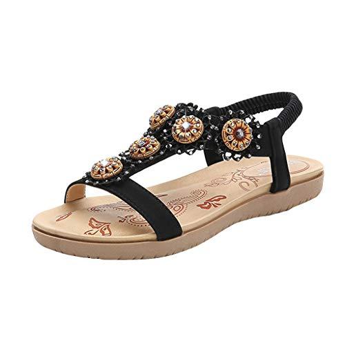 hahashop2 Sandalen Damen Sommer Schuhe, Damen Strass Runde Sandalen -