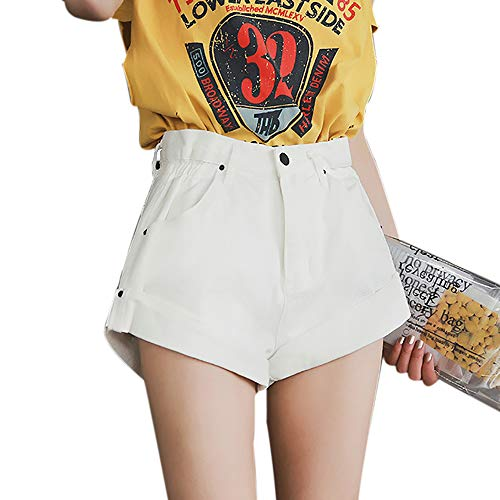 Shujin Damen Sommer Jeans-Shorts High Waist Denim Kurze Hose mit Quaste Ripped Loch Shorts Mini Hotpants Kurzschlüsse - Mädchen Jeansshorts