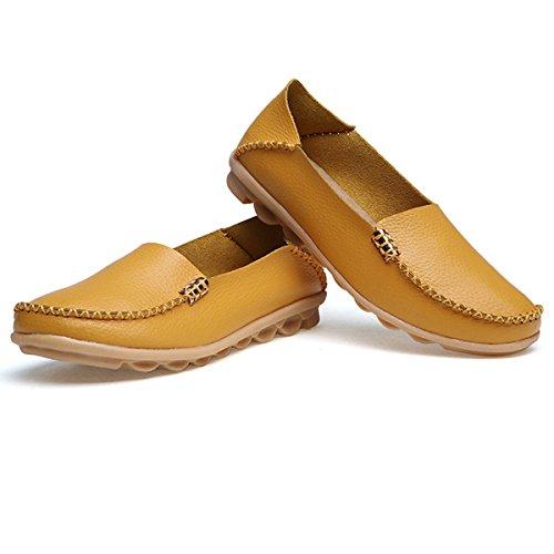 fisca Chaussures de Tanner Surface pilote Bateau Casual en Cuir Flâneur Plat pour femme Jaune