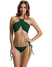5424da885921 Zeraca Donna High Neck Criss Cross Tie Side Bikini Costumi Da Bagno