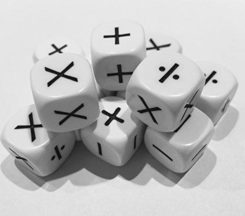 Operationen Würfel . Set von 12 Würfel, die zeigen (6) Addition, Subtraktion, und (6) Multiplikation und Division