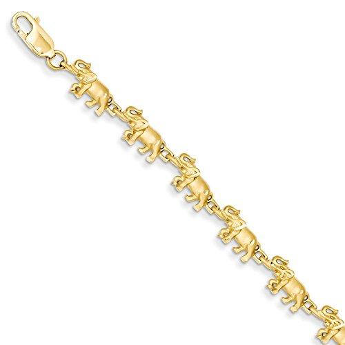 IceCarats Designer Jewellery 14K Elephant Bracelet In 7.00 Inch