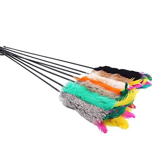 Westeng 3-teiliges Katzenspielzeug, bunt, interaktives Spielzeug, mit Federn und Kunststoff, elastisch, Katzenstab, Spielzeug, für Tiere - Elastischen Kunststoff