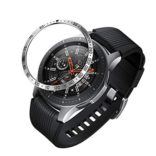 TianranRT Für Samsung Galaxy Watch 46MM Lünette Ring Klebstoff Abdeckung Anti Kratzer Metall (Schwarz) -
