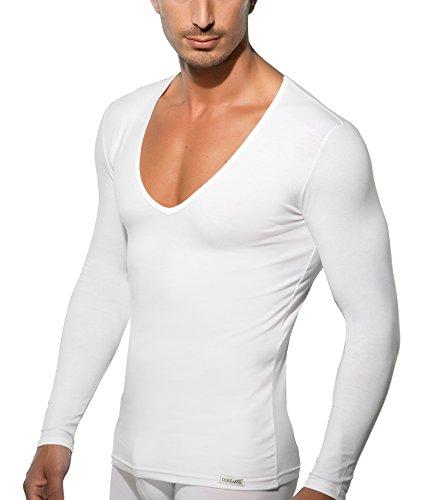 Doreanse Shirt Langarm tiefer V-Ausschnitt Herren Langarmshirt Mens Muscle Fit T-Shirt Deep-Neck (XXL - 62/64, Weiß) (T-shirts Männer Neck Deep)