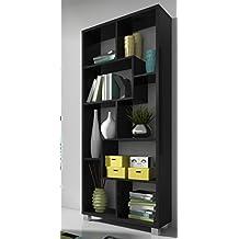 SelectionHome - Estantería librería de diseño comedor salón, color Negro Mate, medidas: 68,5 x 161 x 25 cm de fondo