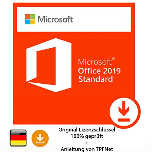 Microsoft® Office 2019 Standard 32 bit & 64 bit Vollversion Original Lizenzschlüssel per Post und E-Mail + Anleitung von TPFNet® - Versand maximal 60Min