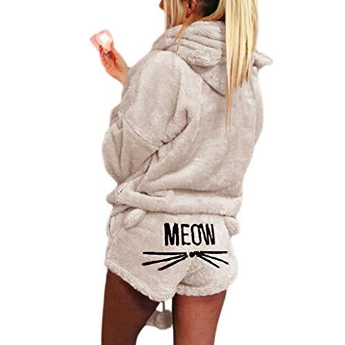 ZChun Frauen Mädchen Plus Size Winter Verdicken Pyjamas Set Nette Katze Meow Gestickte Kurze Hosen Langarm Mit Kapuze Ohren Sweatshirt Warme Nachtwäsche S-5XL (S, Aprikose) -