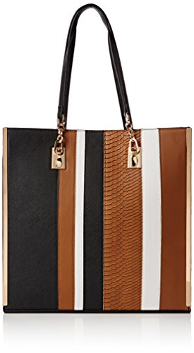 New LookSleek Stripe Shopper - Sacchetto donna , Nero (Black (09/Black Pattern)),