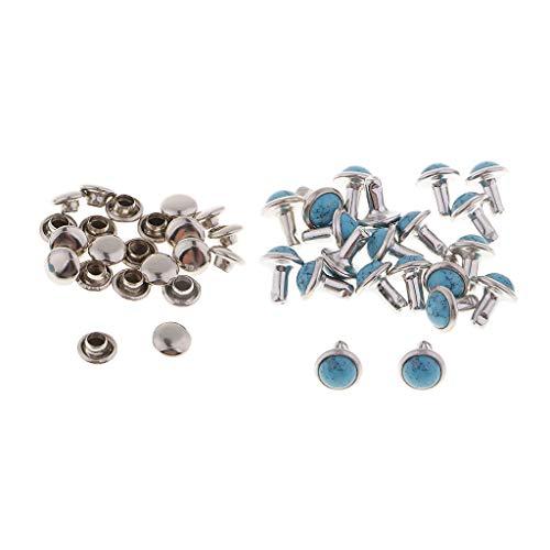 Baoblaze 20er Türkis Nieten Ziernieten Schmucknieten Hohlnieten DIY Rundnieten Druckknöpfe für Kleidungsstücke - Blau