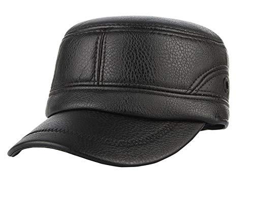 DEMU Herren Winterkappe Armycap Ohrenklappen Wintermütze Baseballcap Schirmmütze Schwarz