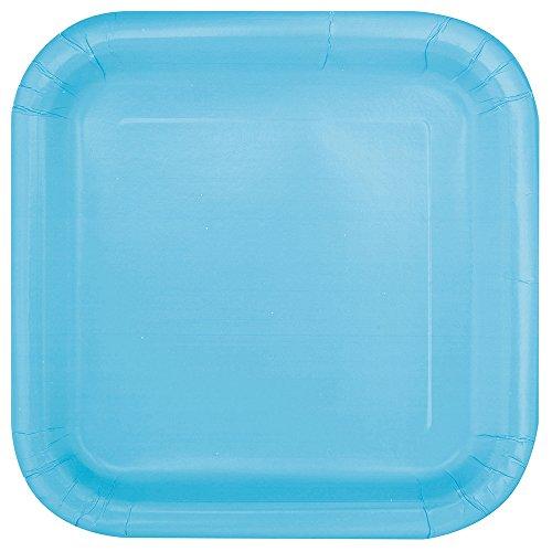 Unique Party 30900 - Paquet de 16 Assiettes Carrées en Carton - 18 cm - Bleu Pastel