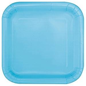 Unique Party- Paquete de 16 platos cuadrados de papel, Color azul claro, 18 cm (30900)