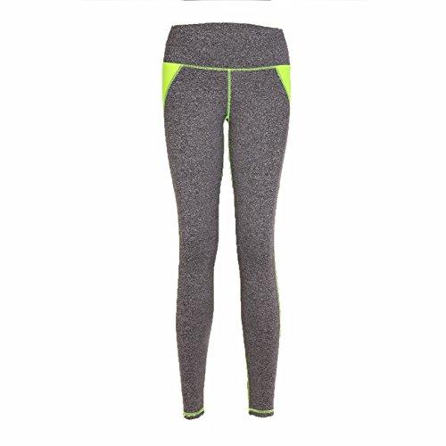 Donna elegante patchwork yoga pantaloni a vita alta fitness workout leggings Joggong sport collant Grey