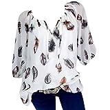 Petalum Damen Bluse Tops Hälfte Ärmel Feder Print V-Ausschnitt Casual Lose Blusentop Oversiyed Lässig Tunika Tunikabluse