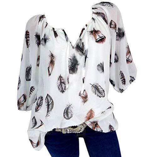 Petalum Damen Bluse Tops Hälfte Ärmel Feder Print V-Ausschnitt Casual Lose Blusentop Oversized Lässig Tunika Tunikabluse Casual Loose Locker Langarmshirt -