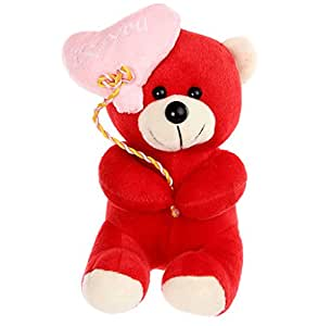 Tickles Red Balloon Teddy Stuffed Soft Plush Toy Love Girl 18 Cm At-T678