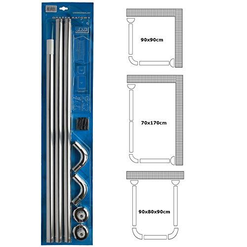 Abgewinkelt 3Wege Dusche Vorhang U & L-Form Schiene 28mm in Durchmesser Angelrute Badewanne -