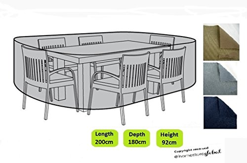 HomeStore Global forma oval medio Funda para muebles de jardín - Gruesa y de alta calidad durable 600D poliéster de la lona con costuras cosidas doble para la fuerza adicional, muy duradera y resistente a la humedad - Color: gris
