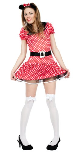 Minnie Mouse Style Fancy Dress with Mouse Ears Headband UK Large