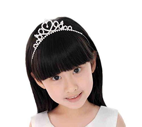 1 STÜCKE Kinder Mädchen Herzförmige Silber Strass Prinzessin Kostüm Crown Stirnband Kristall Kopfbedeckung Headwear Haarband Tiara Friseur Zubehör für Hochzeit (Herzförmiger Kostüm)