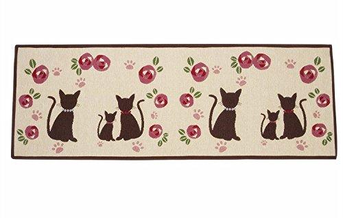 Asvert Tapis de Cuisine Paillasson Pattern Chat Mignon, 50 × 140cm