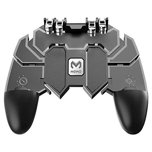 AK66 Phone Gaming Controller mit Trigger Keys für PUBG Mobile, Tragbares Gamepad mit Fire und Zieltasten, 6-Finger Joystick mit verstellbarer Halterung für Handys oder Tablets von 4,7-16,5 Zoll -