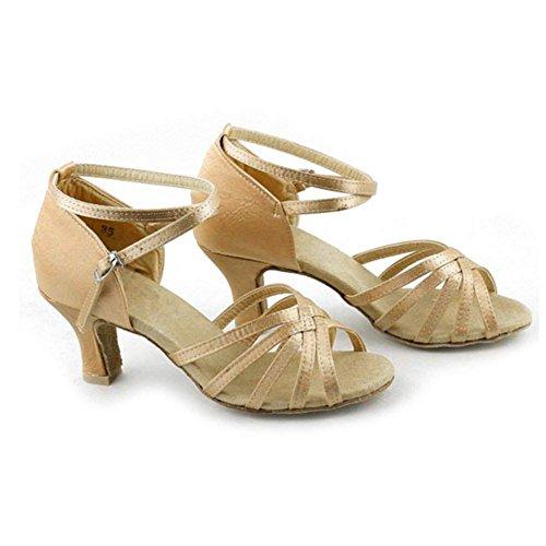 Zeagoo Tanzschuhe Damen Latein Bronze Comfort Standard Satin 6.5 cm Absatz Kaffe