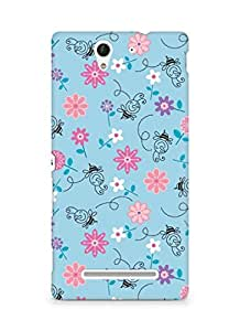 Amez designer printed 3d premium high quality back case cover for Sony Xperia C3 D2502 (girly blue floral bee singing happy colours.JPG)