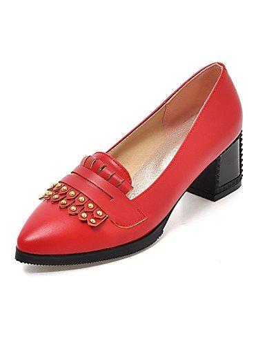 WSS 2016 Chaussures Femme-Bureau & Travail / Décontracté-Noir / Rouge / Beige-Gros Talon-Talons / Bout Pointu-Chaussures à Talons-Polyuréthane beige-us9 / eu40 / uk7 / cn41