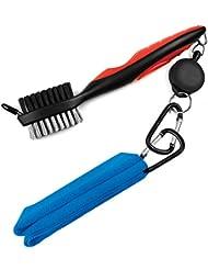 Golf Club cepillo y juego de toallas, LERAN 2en 1Toalla de microfibra y retráctil cepillo de Golf con mosquetón de aluminio tirolesa Kit de limpieza para palos de golf, color Blue towel, tamaño 26 x 6.4 x 3.2 cm