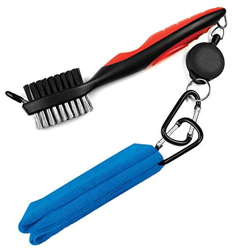 Golf-Handtuch und Clubbürsten-Set, LeRan 2 in 1 Mikrofaser Handtuch und einziehbarer Golf Pinsel mit Seilrutsche Aluminium Karabiner Reinigungsset für Einfaches Aufhängen auf Golf Bags