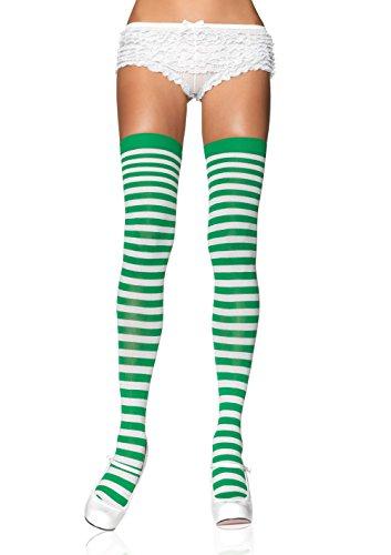 Leg Avenue 6005 - Overknee Halterlose Strümpfe Mit Streifen, Einheitsgröße (EUR 36-40), weiß/kelly grün, Damen Karneval Kostüm Fasching (Streifen Strümpfe)