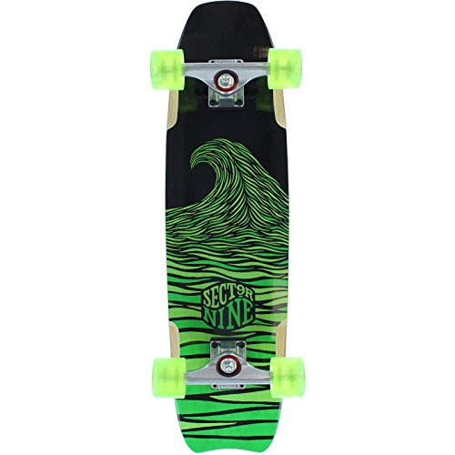 sector-9-shark-bite-nero-verde-longboard-completo