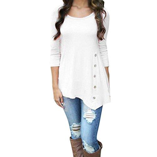 Hevoiok Damen Einfarbig Lose Knopf Oberteile, Neu Mode Plus Größe Freizeit Frühling Rundhals T Shirt Trim Hemdbluse Frauen Langarm Tunika Hemd Bluse Tops (White, 6XL) (Pullover Trim)