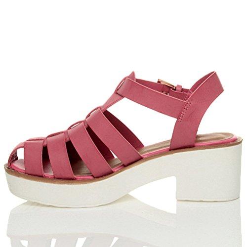 Sapatos Romanos Sandália Gladiadores Tiras Tamanho Rosa Planalto Bloco De Único Senhoras Salto Fúcsia De 8dqwE5p4n4